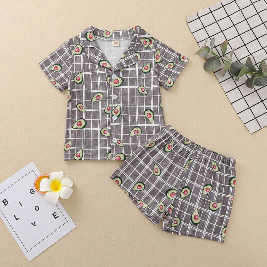 SS212 - Avakado Detaylı Şort Pijama Takımı