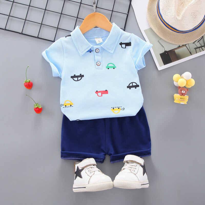 SS212 - Bebe Mavisi Araba Baskılı Bluz Ve Lacivert Şort 2'li Takım