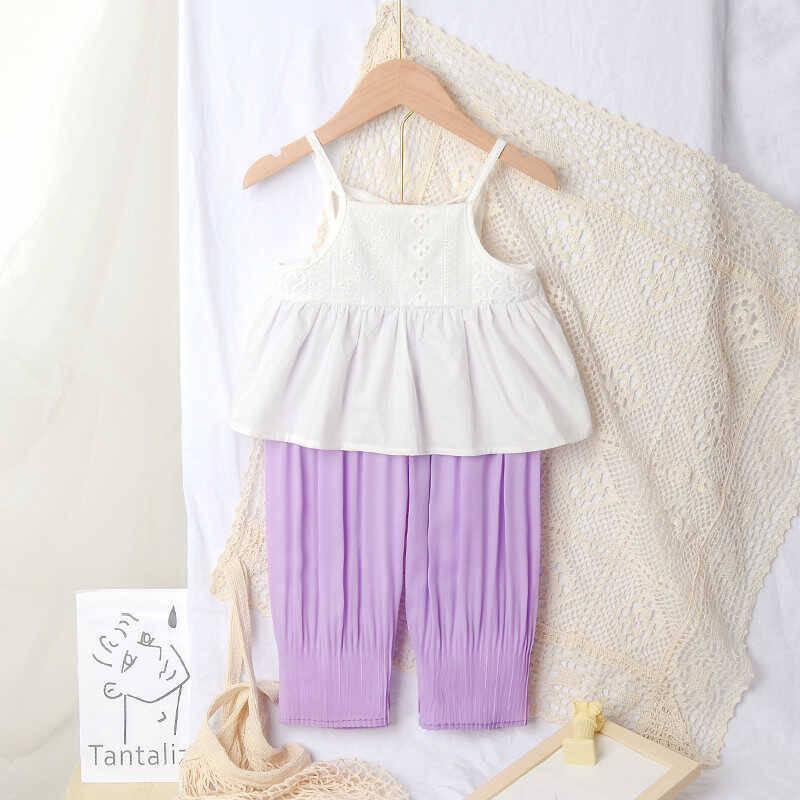 SUM211 - Beyaz Bluz Lila Pantolon
