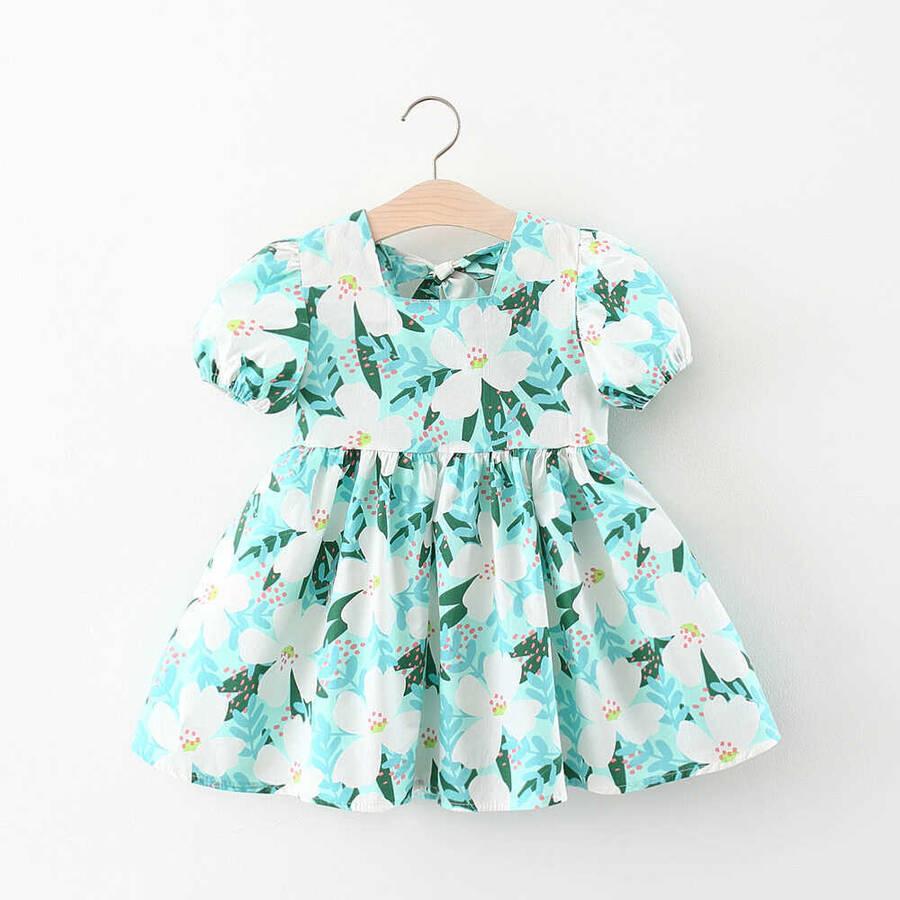 SUM211 - Beyaz Çiçek Desenli Mavi Elbise