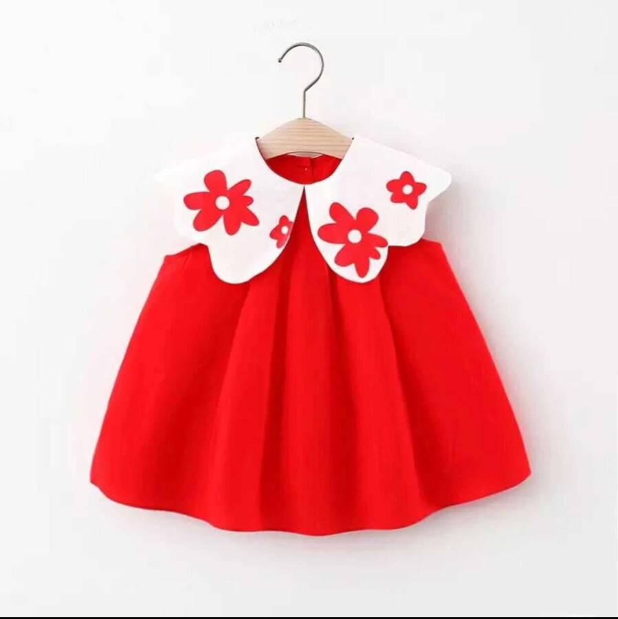 SUM211 - Beyaz Çiçek Yaka Kırmızı Elbise