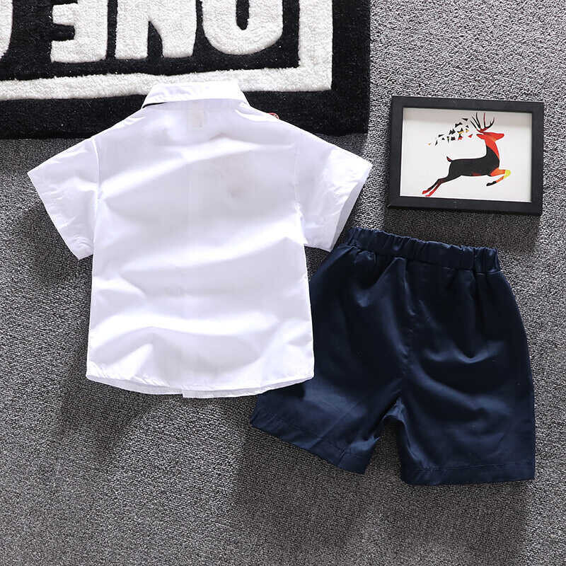 SUM21 - Beyaz Gömlek,Kravat Ve Lacivert Şort 2'li Takım
