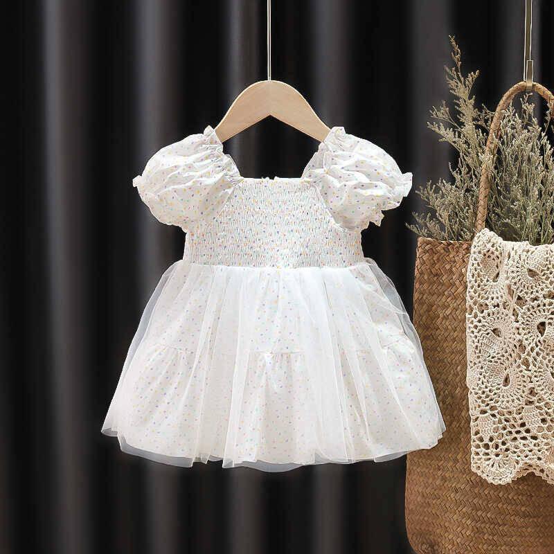 SUM211 - Beyaz Minik Puantiye Elbise