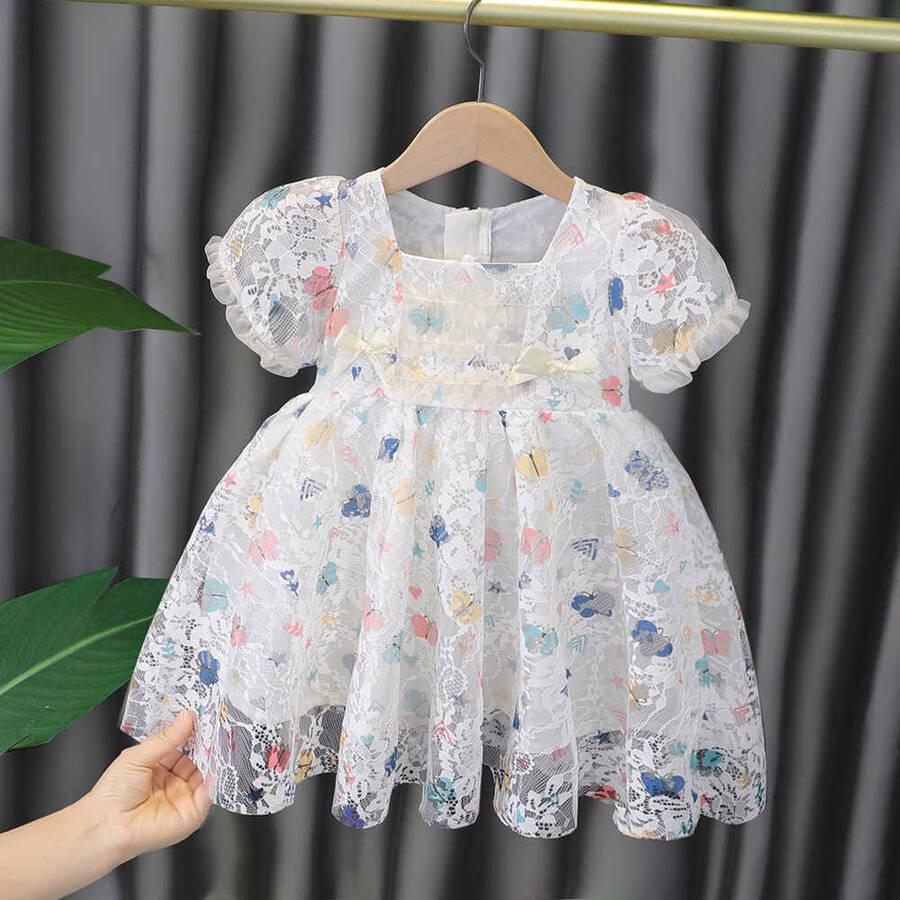 SUM211 - Beyaz Şifon Çiçek Elbise