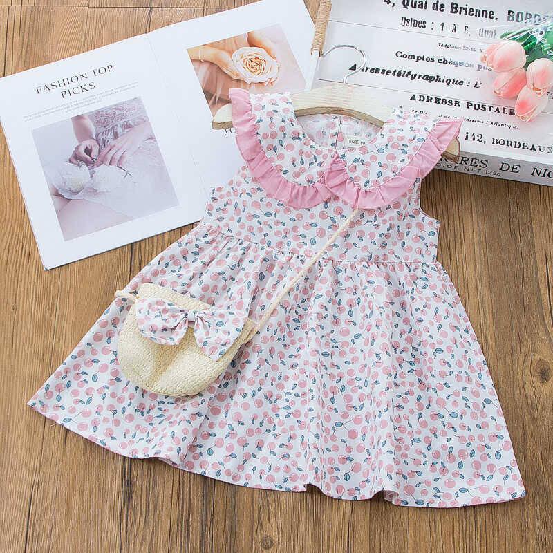 SS212 - Çiçek Desenli Pembe Yaka Detaylı Elbise Ve Çanta 2'li Set