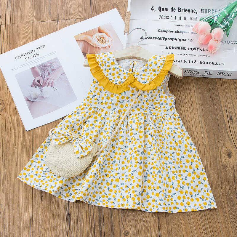 SS212 - Çiçek Desenli Sarı Yaka Detaylı Elbise Ve Çanta 2'li Set