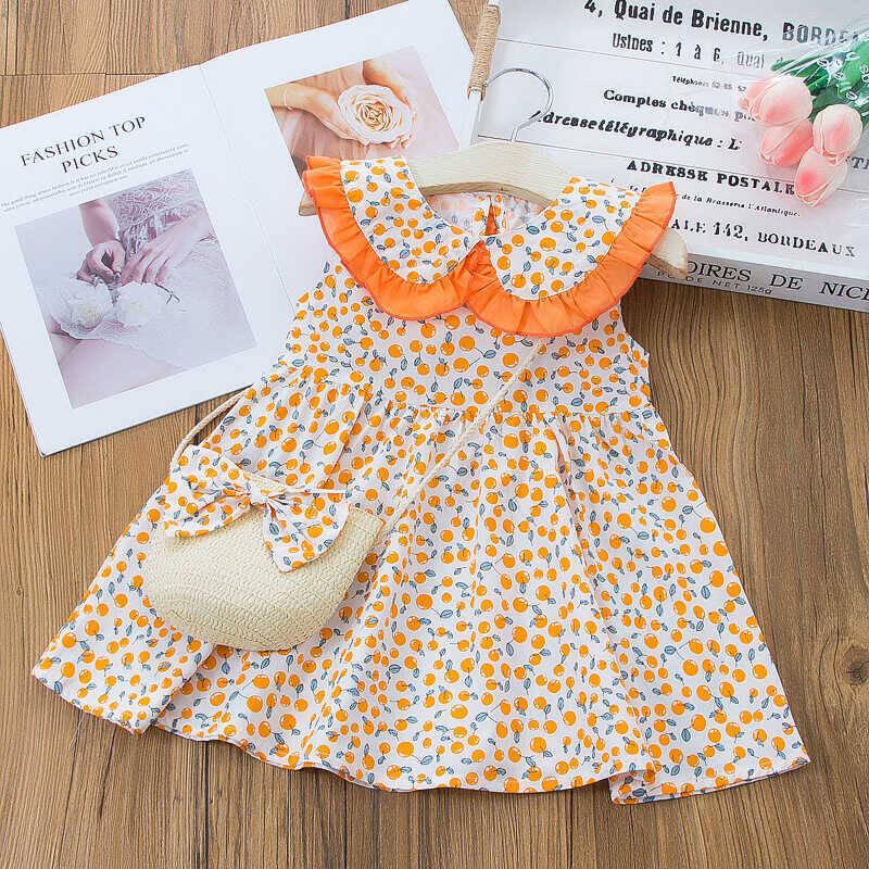 SS212 - Çiçek Desenli Turuncu Yaka Detaylı Elbise Ve Çanta 2'li Set