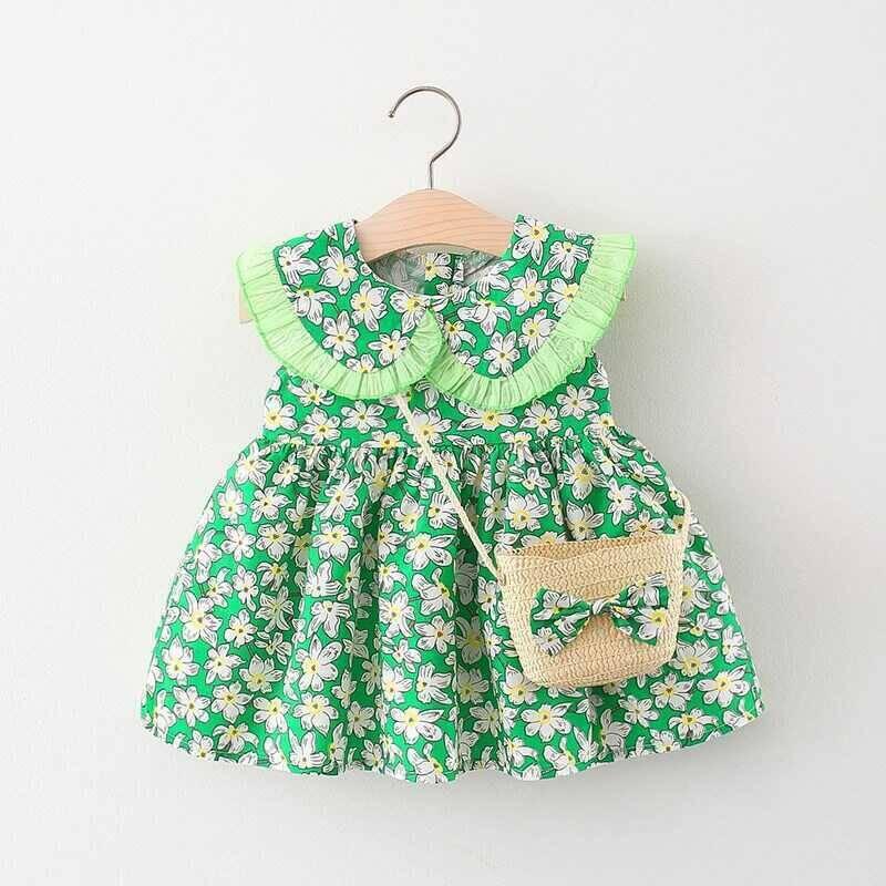 SUM21 - Çiçek Desenli Yeşil Elbise Ve Çanta 2'li Set