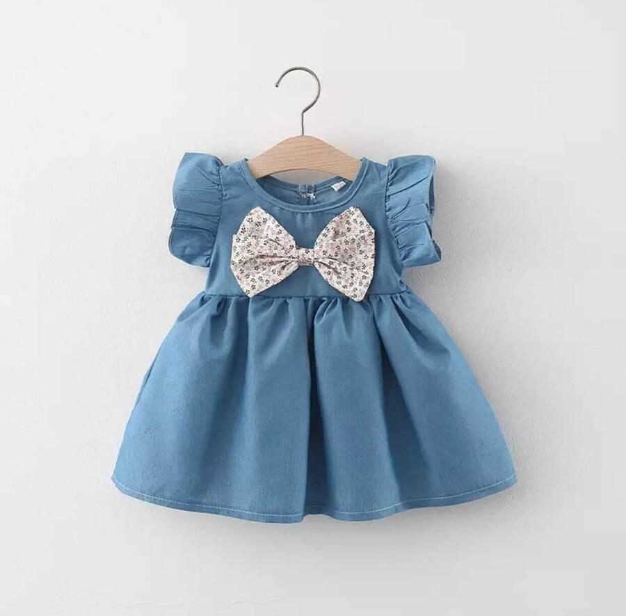 SUM21 - Çiçek Fiyonklu Kot Elbise