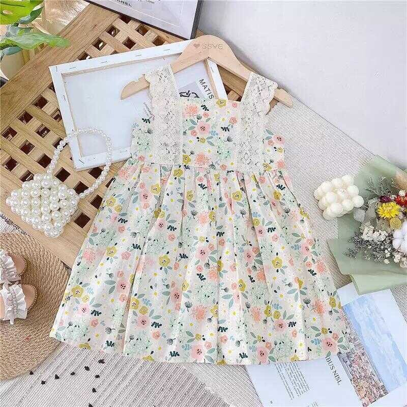 SS212 - Dantel Askı Detaylı Renkli Çiçek Elbise