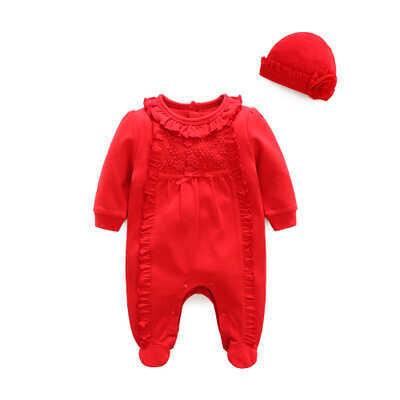 ss20P - Dantel Detaylı Kırmızı Tulum Ve Şapka 2'li Set