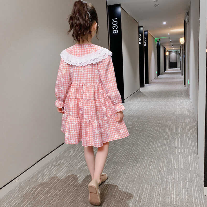 Dantel Detaylı Pötikareli Pembe Elbise - Thumbnail