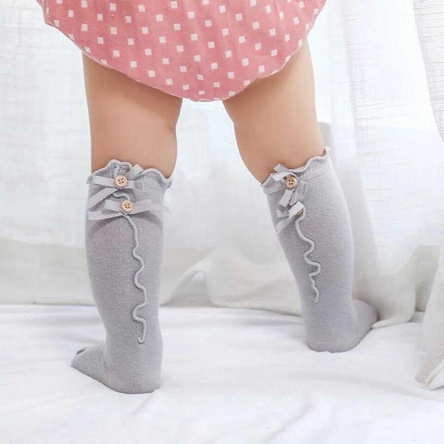 AW21 - Düğme Detaylı Gri Çorap