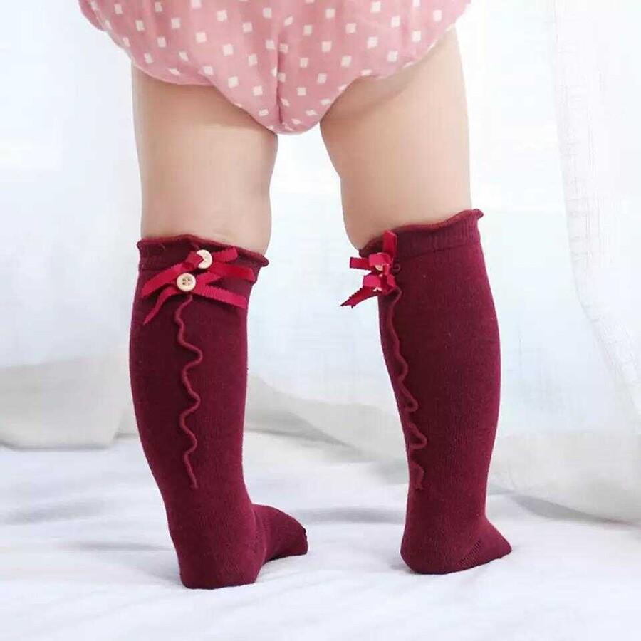 AW21 - Düğme Detaylı Bordo Çorap