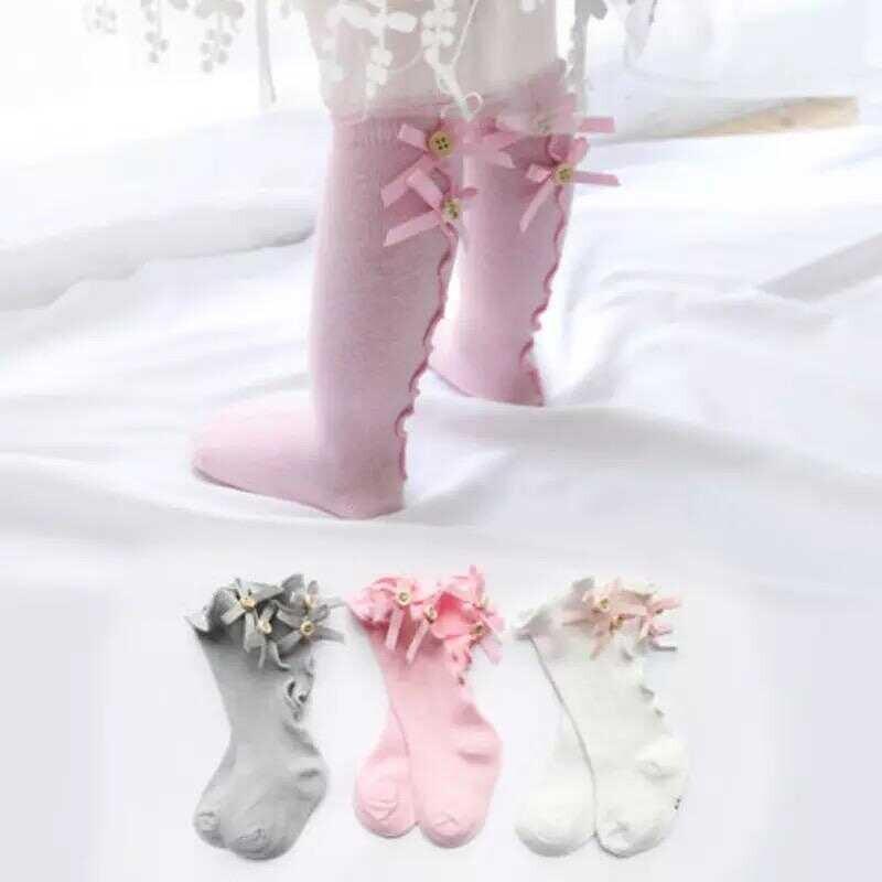 AW21 - Düğme Detaylı Pembe Çorap