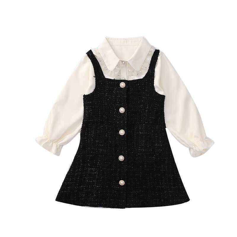 SS21 - Düğme Detaylı Siyah-Beyaz Elbise