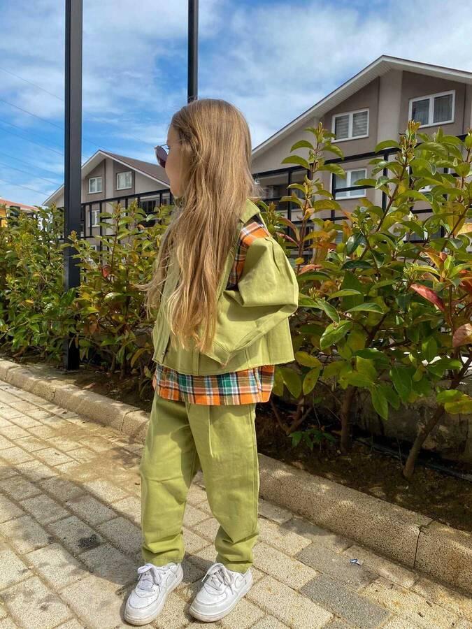 Ekoseli Gömlek, Yeşil Yelek Ve Pantolon 3'lü Set - Thumbnail