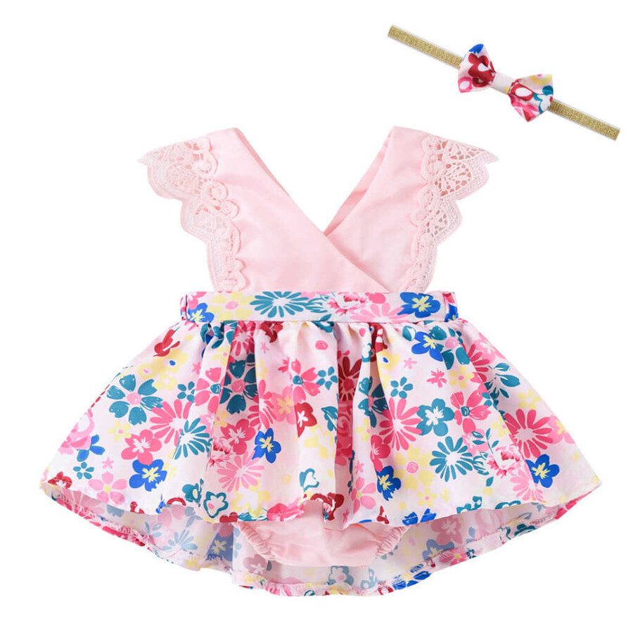 SUM21 - Fisto Detayı Çiçekli Pembe Elbise Ve Saç Bandı 2'li Set