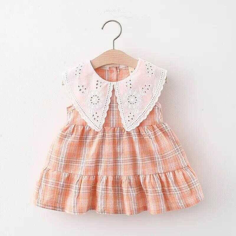 SS212 - Fisto Yaka Detaylı Somon Ekose Elbise
