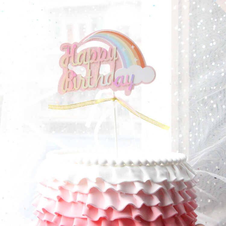 SS212 - Gökkuşağı Detaylı Happy Birthday Baskılı Pasta Süsü
