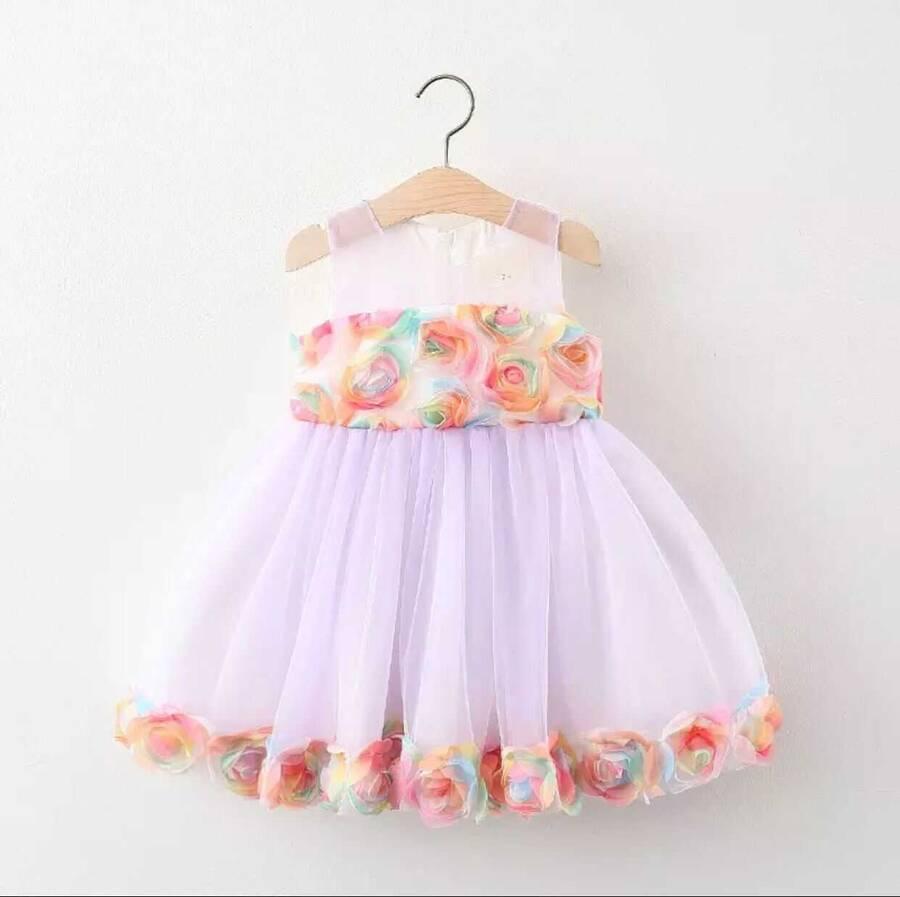 SUM21 - Gül Detaylı Lila Tül Elbise