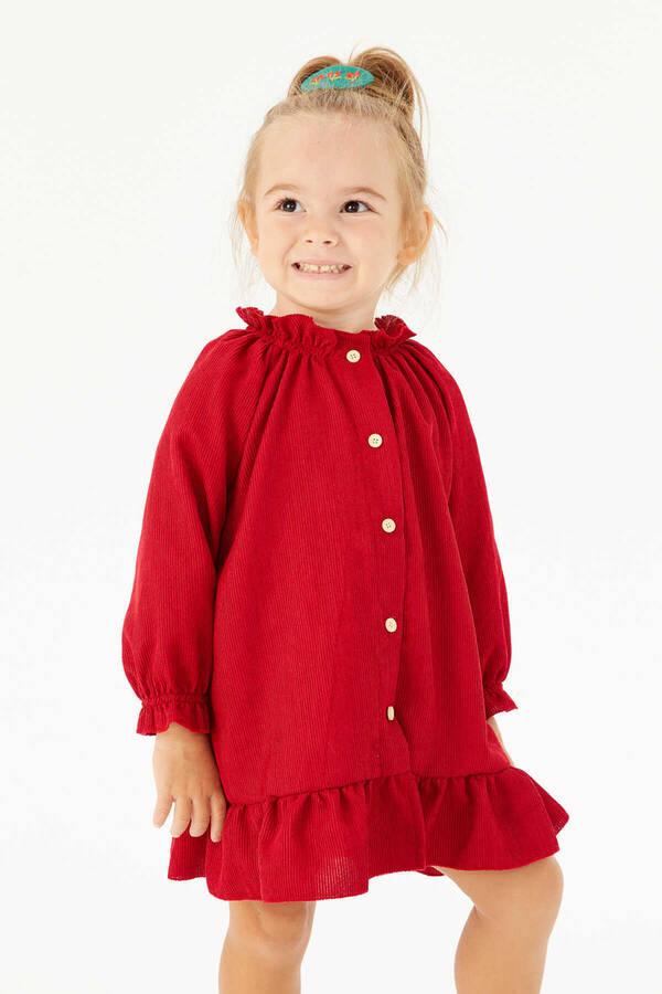 FW21 - İnce Fitilli Fırfırlı Kırmızı Elbise