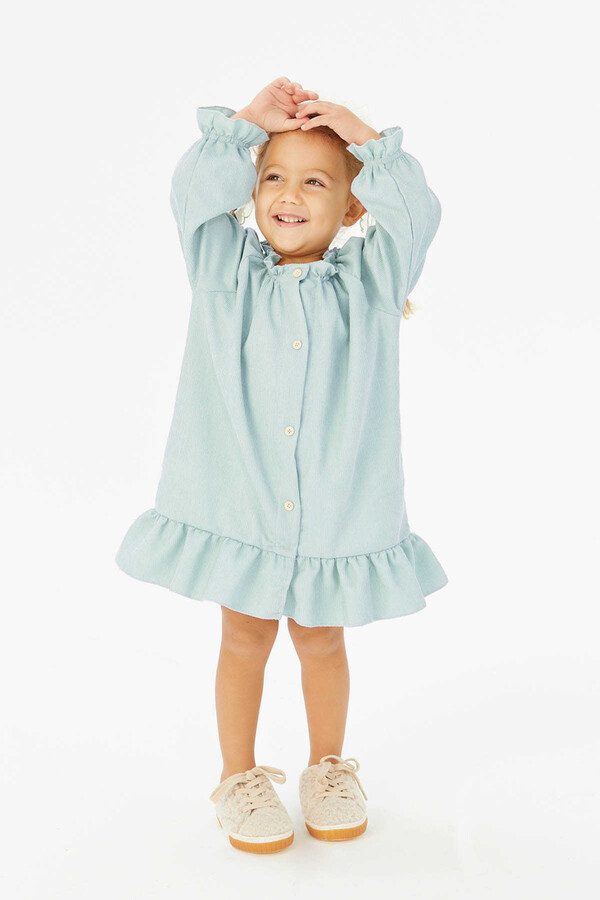 FW21 - İnce Fitilli Fırfırlı Mavi Elbise