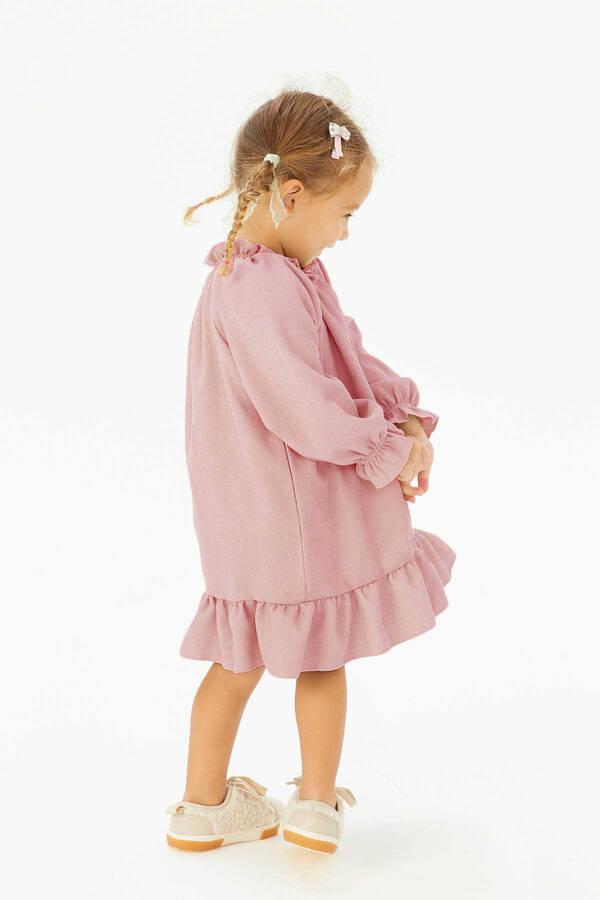 FW21 - İnce Fitilli Fırfırlı Pembe Elbise
