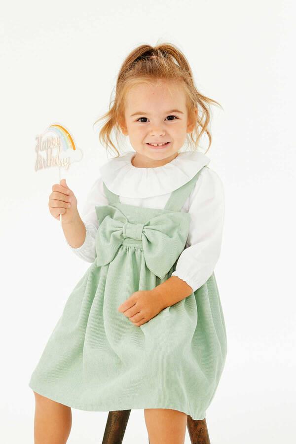 FW21 - İnce Fitilli Fiyonklu Mint Yeşili Elbise