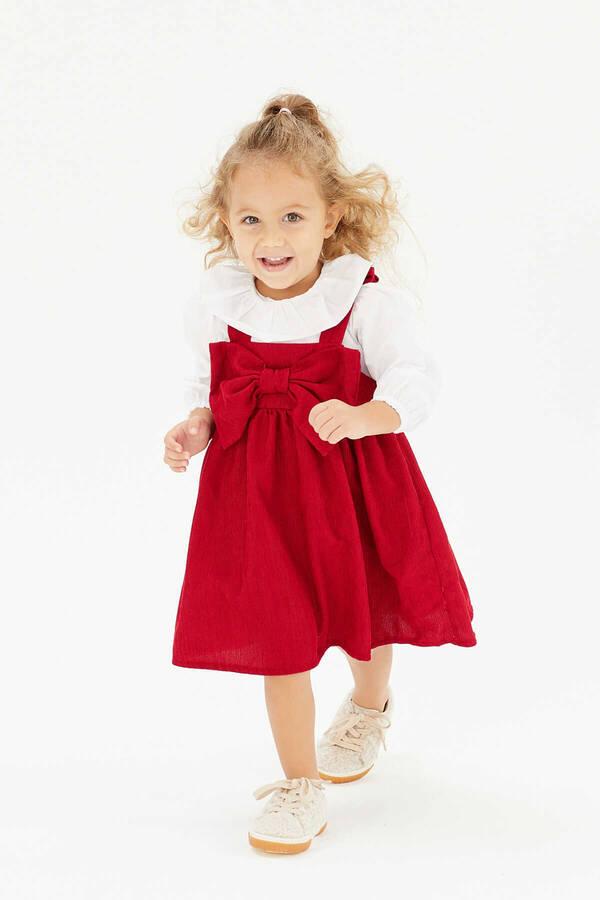 FW21 - İnce Fitilli Fiyonklu Kırmızı Elbise