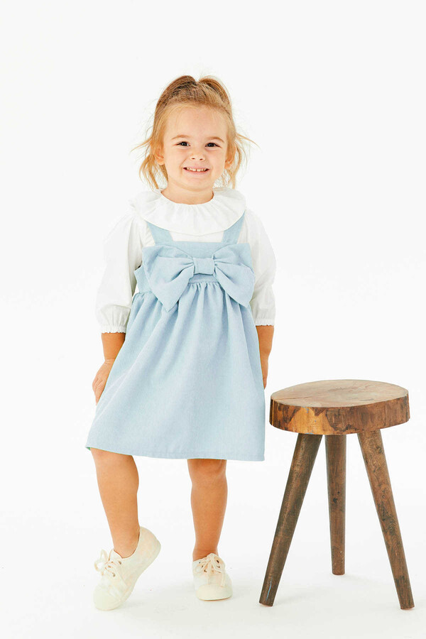FW21 - İnce Fitilli Fiyonklu Mavi Elbise