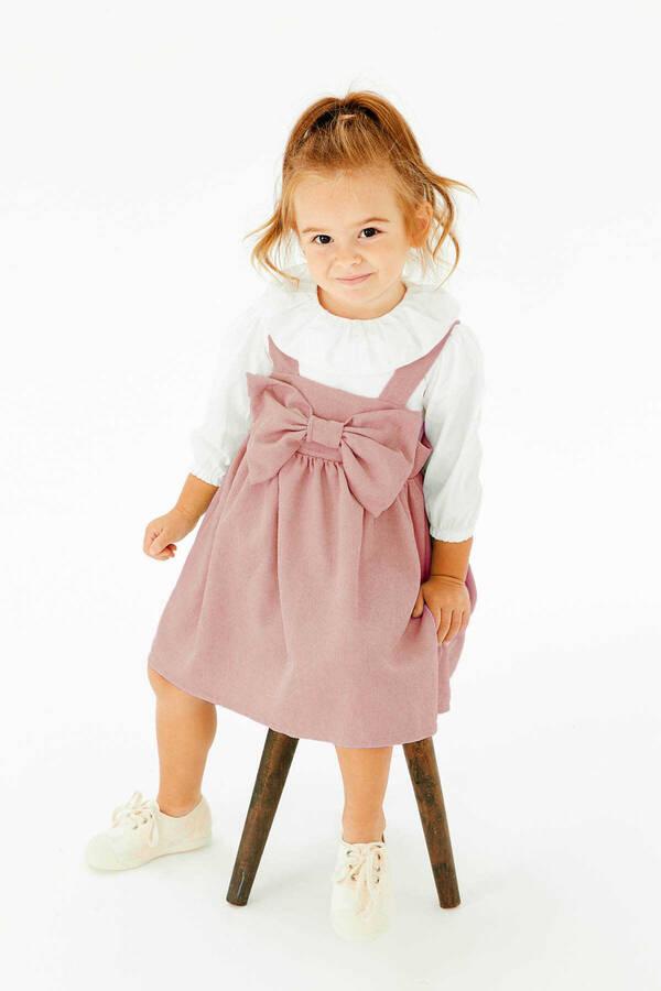 FW21 - İnce Fitilli Fiyonklu Pembe Elbise