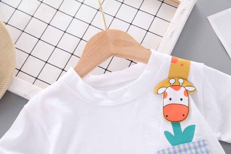 Zürafa Desenli Beyaz Tshırt ve Şortlu 2'li Takım - Thumbnail
