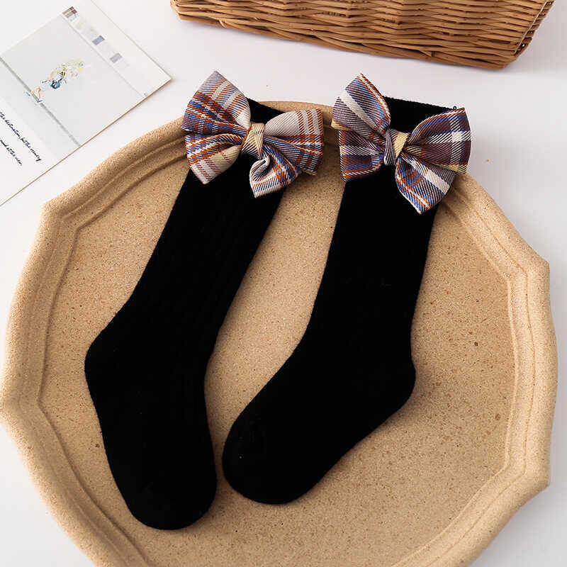 SS212 - Kahverengi Kurdele Detaylı Siyah Çorap