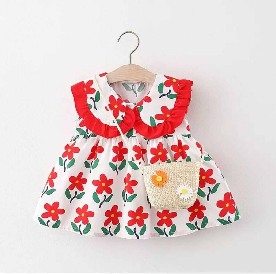 SUM211 - Kırmızı Çiçek Desenli Elbise ve Çanta 2'li Set