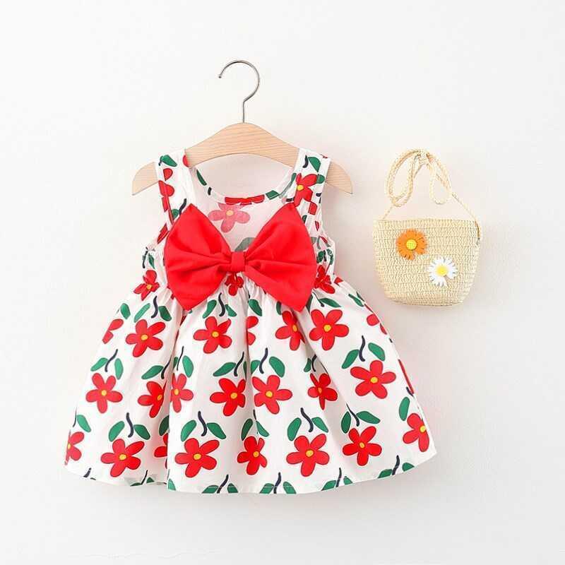 Kırmızı Çiçek Detaylı Elbise Ve Çanta 2'li Set