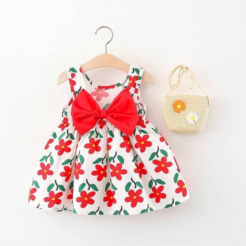 SUM21 - Kırmızı Çiçek Detaylı Elbise Ve Çanta 2'li Set