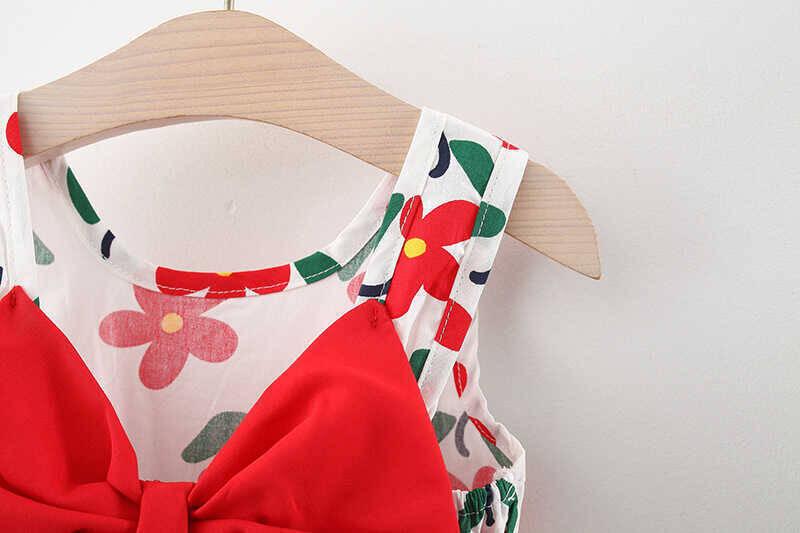 Kırmızı Çiçek Detaylı Elbise Ve Çanta 2'li Set - Thumbnail