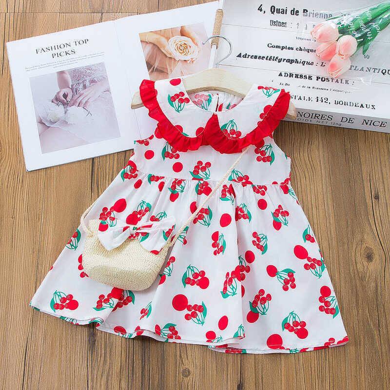 SS212 - Kırmızı Kiraz Desenli Elbise Ve Çanta 2'li Set