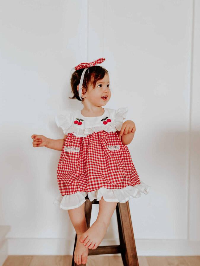 BBS - Kırmızı Kiraz Pötikareli Elbise