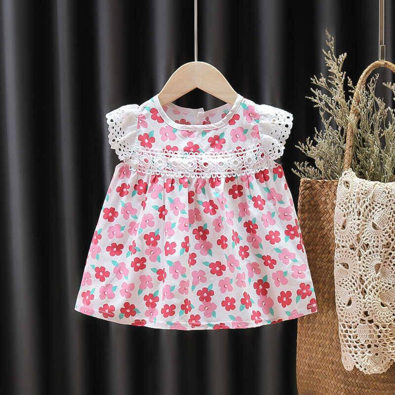 SUM211 - Kırmızı Pembe Çiçek Elbise
