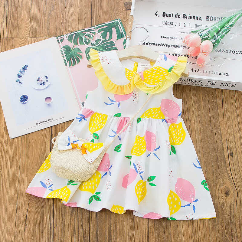 SS212 - Limon Desenli Sarı Yaka Elbise Ve Çanta 2'li Set