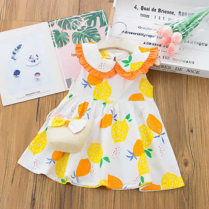 SS212 - Limon Desenli Turuncu Yaka Elbise Ve Çanta 2'li Set