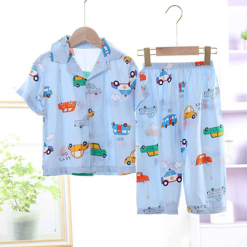 SS212 - Mavi Araba Desenli Pijama Takımı