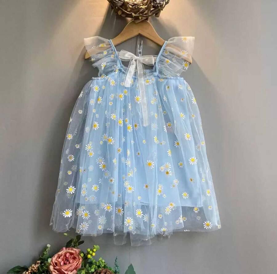 SUM21 - Mavi Papatya Desenli Elbise