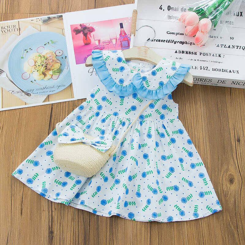 SS212 - Mavi Renkli Çiçek Elbise Ve Kurdele Çanta 2'li Set