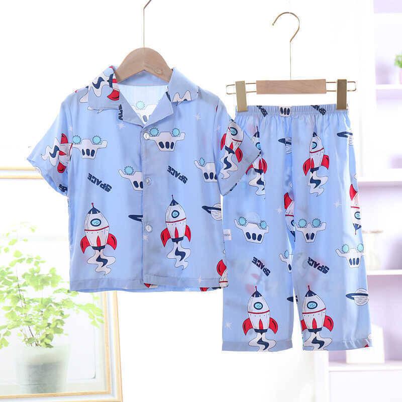 SS212 - Mavi Roket Desenli Pijama Takımı