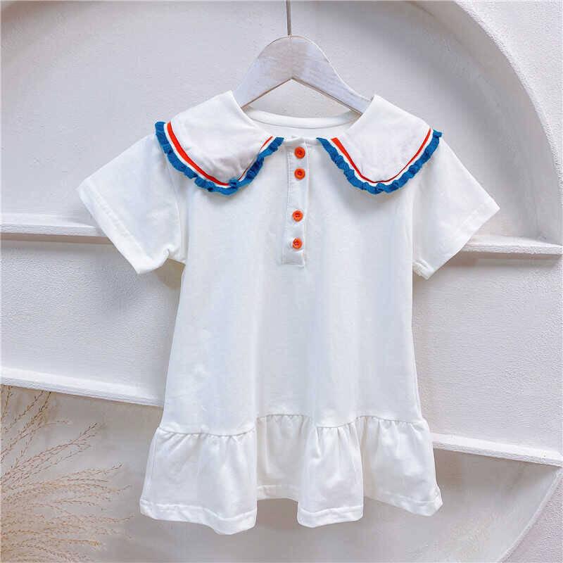 SUM211 - Mavi Yaka Beyaz Elbise