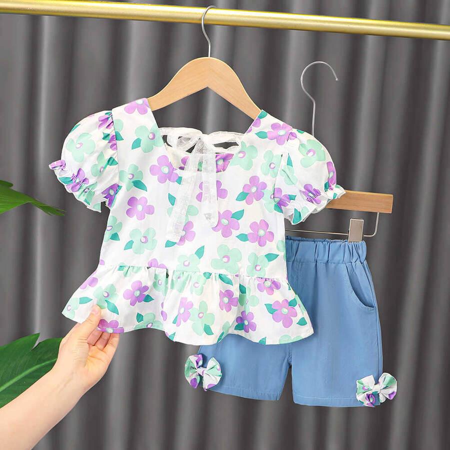 SUM211 - Mor Çiçek Gömlek ve Şort