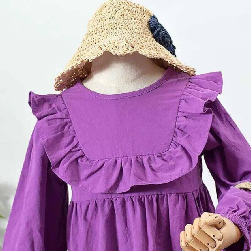 Mor Fırfırlı Elbise - Thumbnail